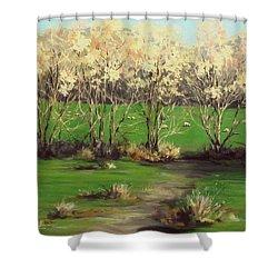 Winter Greens Shower Curtain by Karen Ilari