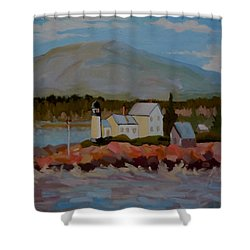 Shower Curtain featuring the painting Winter Harbor Light by Francine Frank