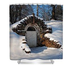Winter Hobbit Hole Shower Curtain by Michael Porchik