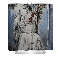 Winter Ice Angel Shower Curtain by Carla Carson
