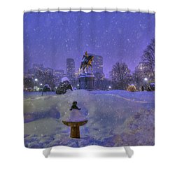 Winter In Boston - George Washington Monument - Boston Public Garden Shower Curtain by Joann Vitali