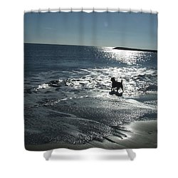 winter in Les Ste Marie de la mer Shower Curtain