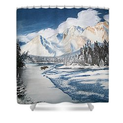 Shower Curtain featuring the painting Winter In The Canadian Rockies by Sharon Duguay
