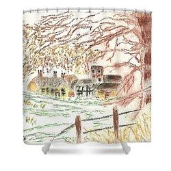 Winter In The Village Shower Curtain