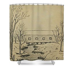 Winter Landscape In Ink Shower Curtain