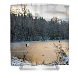 Winter Landscape With Frozen Lake And Warm Evening Twilight Shower Curtain by Matthias Hauser