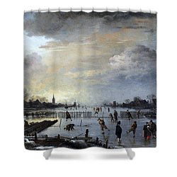 Shower Curtain featuring the painting Winter Landscape With Skaters by Gianfranco Weiss