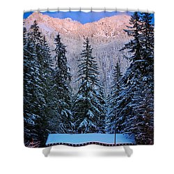 Winter Lodging Shower Curtain by Inge Johnsson