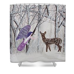 Shower Curtain featuring the painting Winter Magic by Cheryl Bailey
