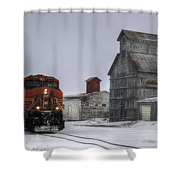 Winter Mixed Freight Through Castle Rock Shower Curtain