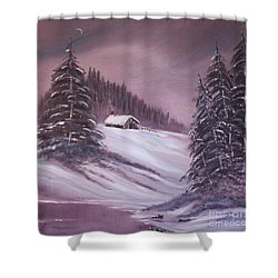 Shower Curtain featuring the painting Winter Moon by Janice Rae Pariza