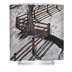 Winter Moon Shadow Shower Curtain by Jeffrey Koss