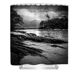 Winter Moonlight Wolfes Neck Woods Maine Shower Curtain by Bob Orsillo