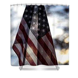 Winter Morning Patriotism Shower Curtain