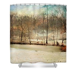 Winter Morning Pond Shower Curtain by Jai Johnson