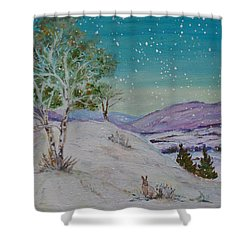 Winter Mountains With Hare Shower Curtain