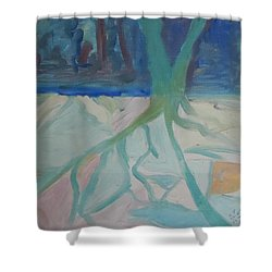 Shower Curtain featuring the painting Winter Night Shadows by Francine Frank
