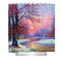 Winter Nightfall, Snow Scene  Shower Curtain
