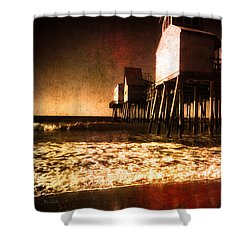 Winter Old Orchard Beach Shower Curtain by Bob Orsillo