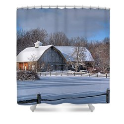 Shower Curtain featuring the photograph Winter On The Farm 14586 by Guy Whiteley