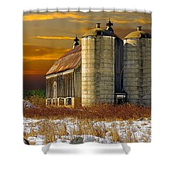 Winter On The Farm Shower Curtain by Judy  Johnson
