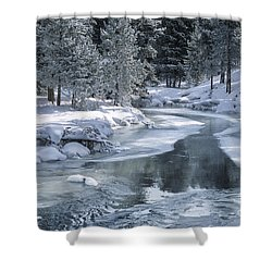 Winter On The Firehole River - Yellowstone National Park Shower Curtain by Sandra Bronstein