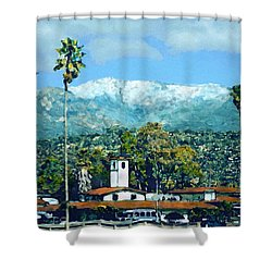 Winter Paradise Santa Barbara Shower Curtain