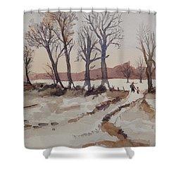 Shower Curtain featuring the painting Winter Scene by Betty-Anne McDonald