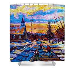 Winter Scene Painting-hockey Game In The Village-rural Hockey Scene Shower Curtain by Carole Spandau