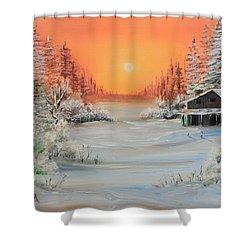 Winter Scene Shower Curtain by Remegio Onia