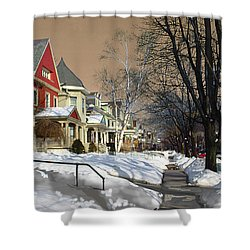 Shower Curtain featuring the pyrography Winter Scenery  by Viola El