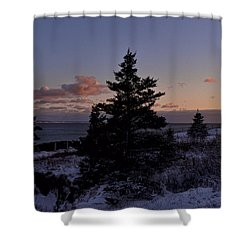 Winter Sentinel Lighthouse Shower Curtain