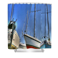 Winter Shipyard Shower Curtain