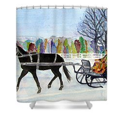 Shower Curtain featuring the painting Winter Sleigh Ride by Carol Flagg