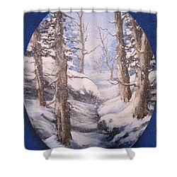 Shower Curtain featuring the painting Winter Snow by Megan Walsh