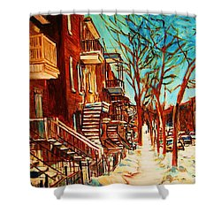 Shower Curtain featuring the painting Winter Staircase by Carole Spandau