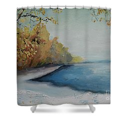 Winter Starts At Kymi River Shower Curtain