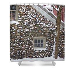 Winter Stone Pattern Shower Curtain by Randy Pollard