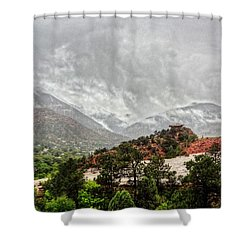 Winter Storm On A Summer Day Shower Curtain by Lanita Williams