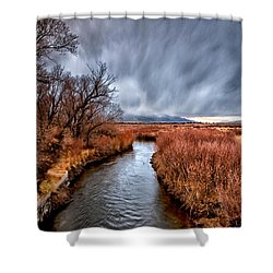 Winter Storm Over Owens River Shower Curtain by Cat Connor