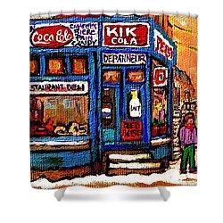 Winter Stroll Beautiful Sunny Day Montreal Street Scene  - Verdun Depanneur Hockey City Scene  Shower Curtain by Carole Spandau