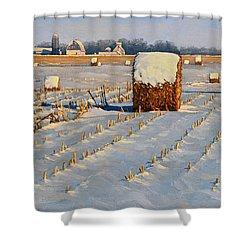 Winter Stubble Bales Shower Curtain by Bruce Morrison