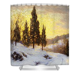 Winter Sundown Shower Curtain by Walter Launt Palmer