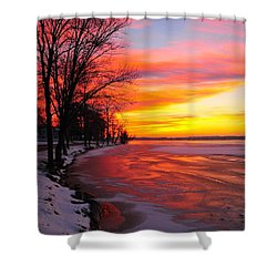 Shower Curtain featuring the photograph Winter Sunrise On Lake Cadillac by Terri Gostola
