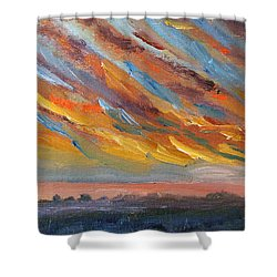Shower Curtain featuring the painting Winter Sunrise Over Provincetown by Michael Helfen