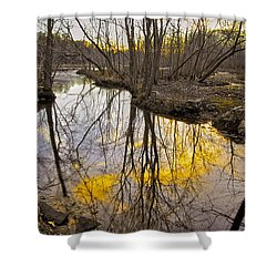 Shower Curtain featuring the photograph Winter Sunset At Williston Mill by Brian Wallace