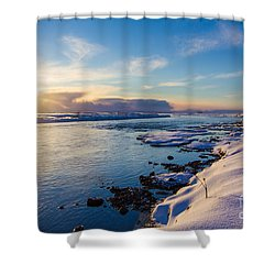 Shower Curtain featuring the photograph Winter Sunset In Iceland by Peta Thames