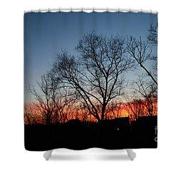 Winter Sunset Shower Curtain by Karen Adams