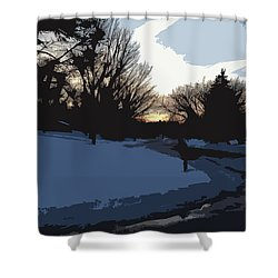 Shower Curtain featuring the digital art Winter Sunset by Kirt Tisdale