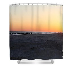 Shower Curtain featuring the photograph Winter Sunset On Long Beach by John Telfer